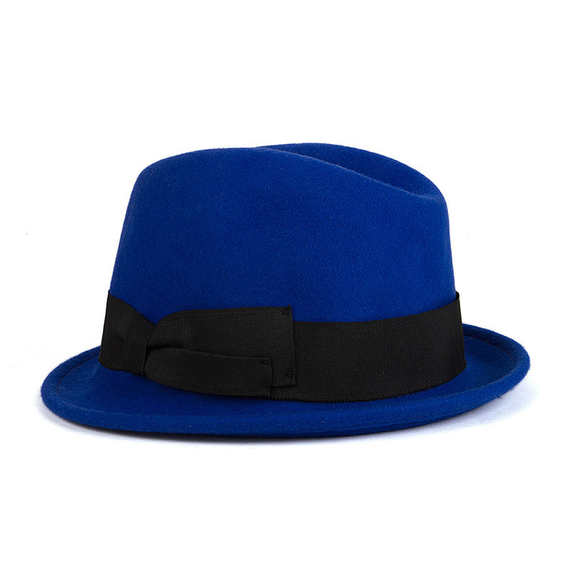 wholesale blue woolen fedora hat men tea party hats jazz hat felt hats with bowknot DII four color free shipping(China (Mainland))