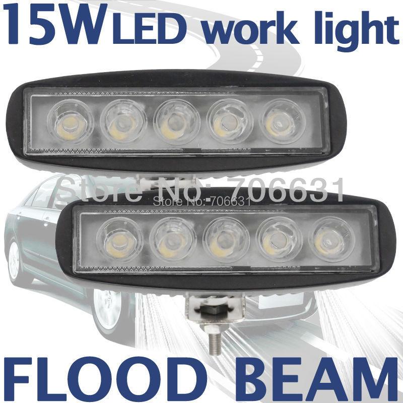 2pcs 15W Black LED Off road Slim Work Light Flood beam Lamp 12V/24V for car Truck 4WD 4X4(China (Mainland))