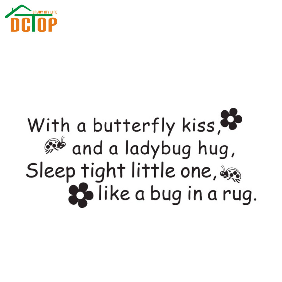 DCTOP Butterfly Kiss Ladybug Hug Quote Vinyl Decal Baby Room Decor Wall Sticker Kids Home Decoration Wall Art(China (Mainland))
