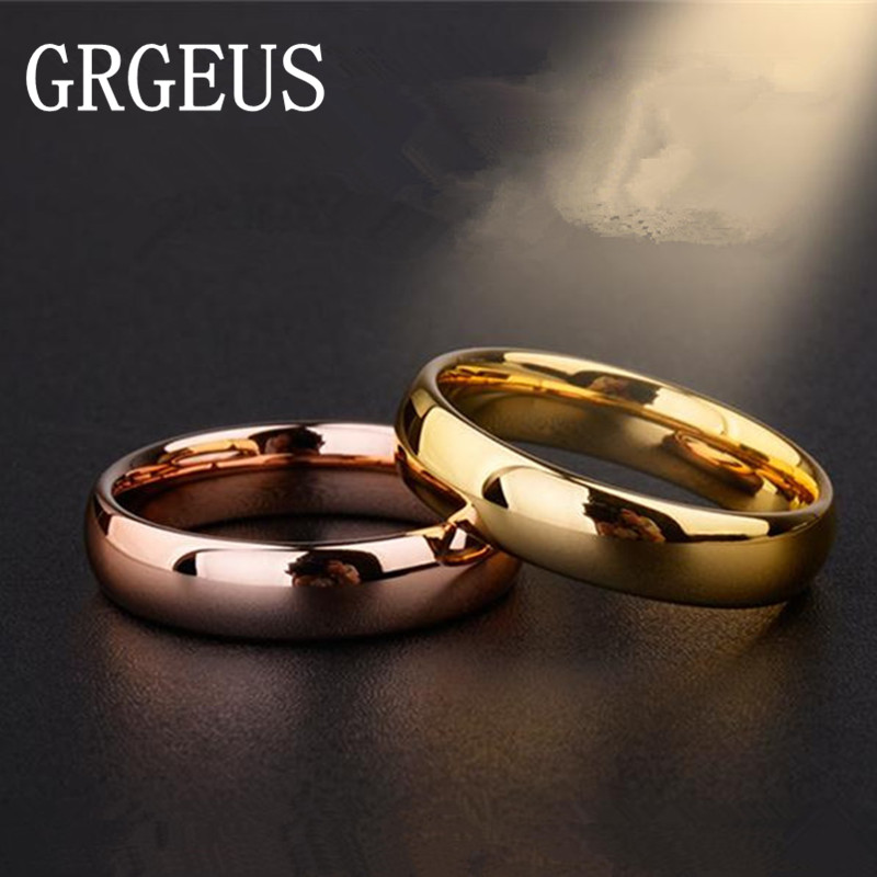 6mm Titanium Band Wedding Ring Solid fashion Rose gold ring glossy 316L stainless steel ring for women men Valentine's Day(China (Mainland))