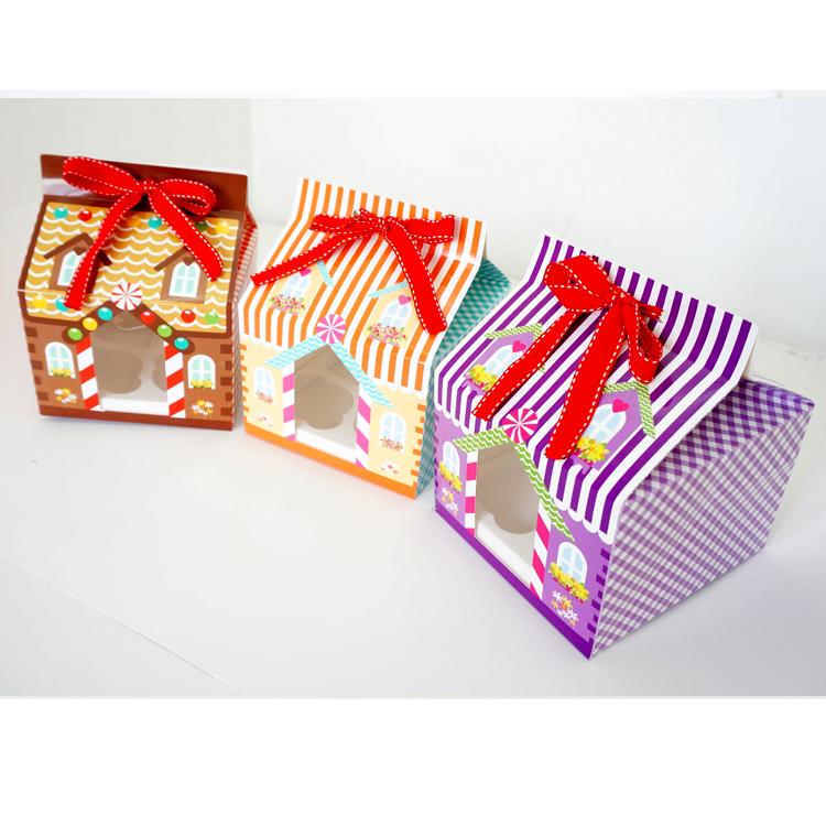 new year 2015 Christmas 4 hole cupcake packaging box/ Christmas cake box / cake carry holder open window with ribbon(China (Mainland))