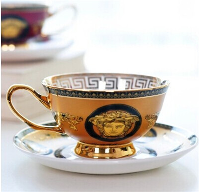 200ml New Design Ceramic Cup Bone China Coffee Cup Set Royal Portraits Porcelain Dazzle Gold Free Shipping(China (Mainland))