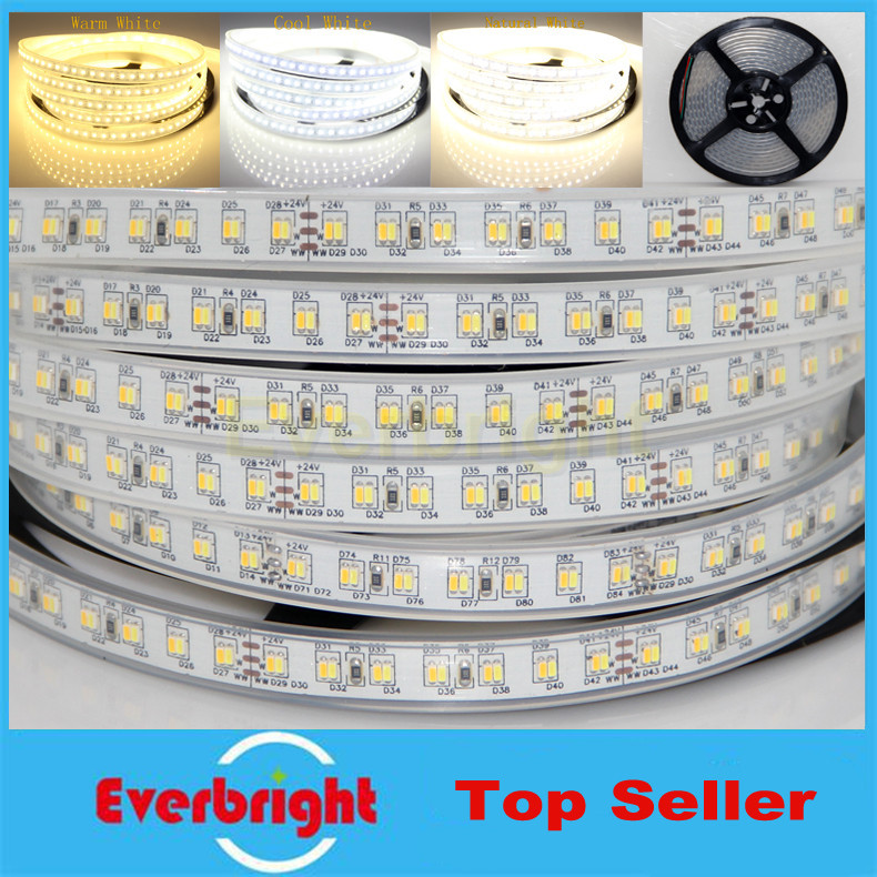 Super Bright SMD 3014 LED Strip Waterproof IP67 DC12V 5M 300Leds 224leds/M Flexible Light Cool White Warm