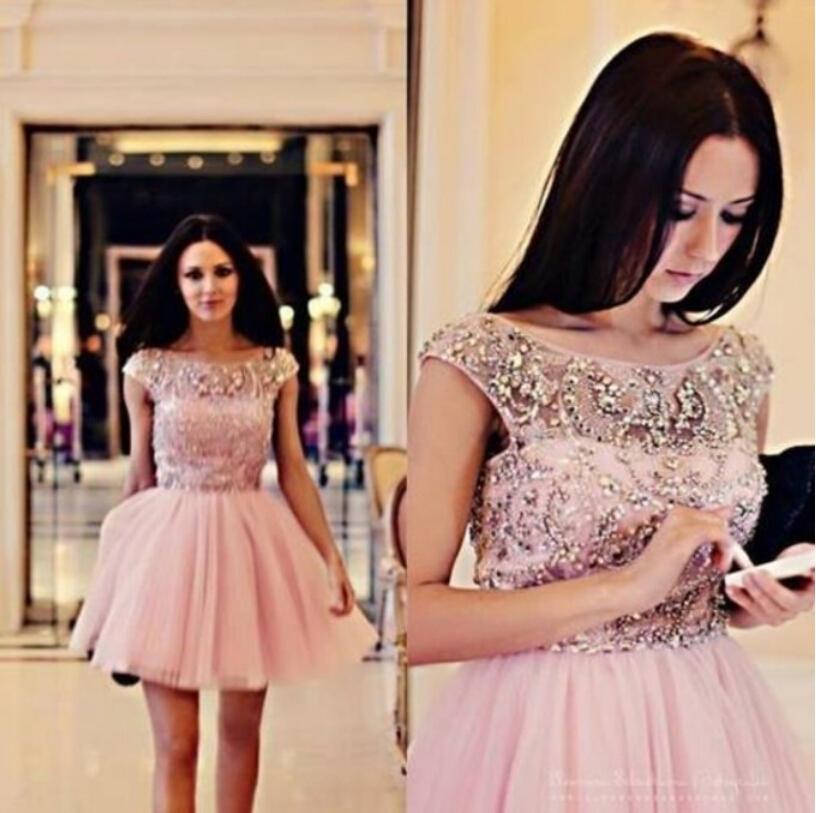 Chic Bateau A Line Mini Length Sleeveless V Back Beaded Pink Short Prom Dress 2015 Vestidos