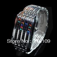 New Fashion MENS Women STUNNING BARCODE LED WATCH FUTURISTIC BLUE DISPLAY Gift S