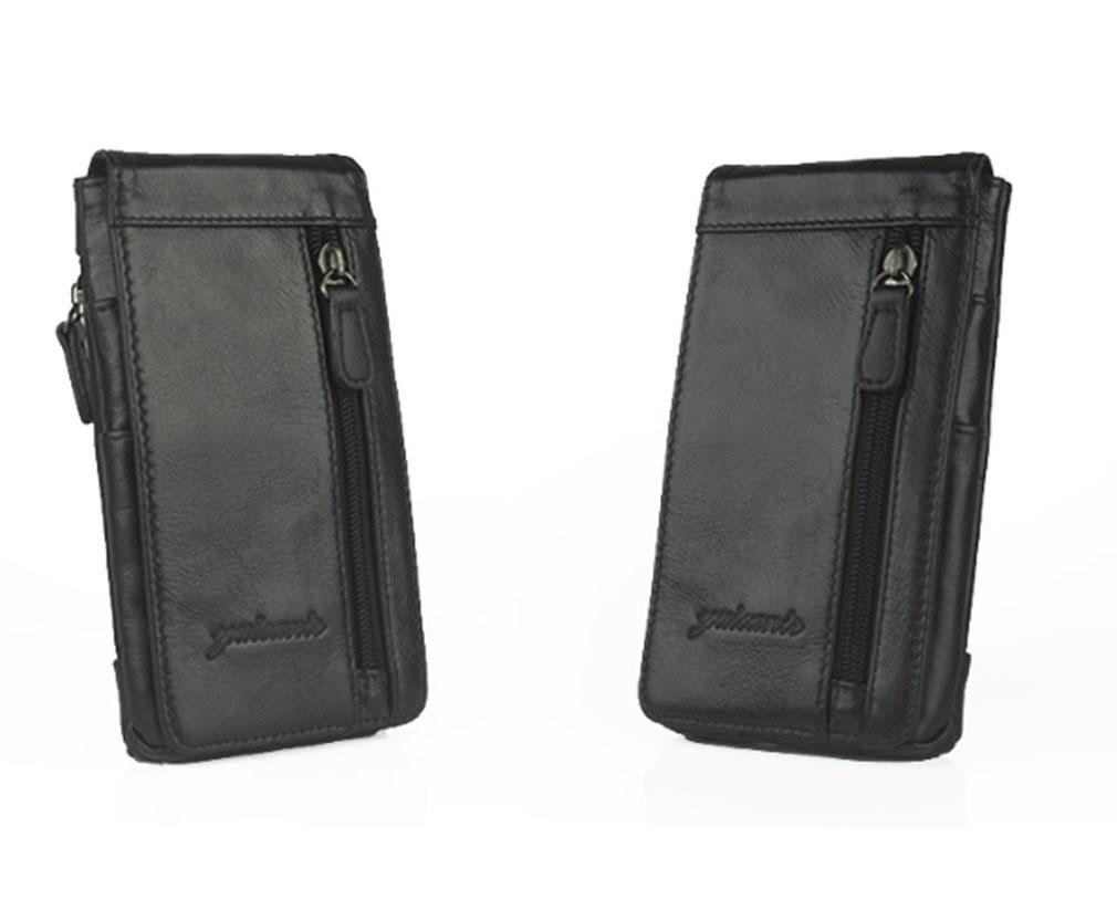 New Men Genuine Leather Mobile Phone Case Pocket Purse Cigarette Hip Belt Bum Fanny Waist Bag Multi-purpose Pack