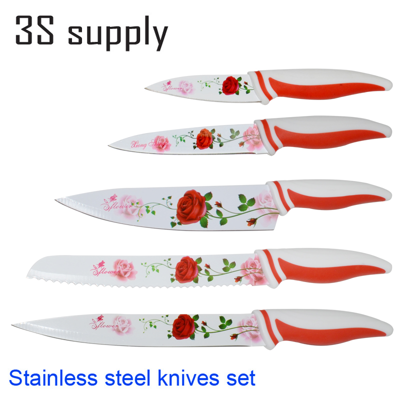 """High Quality Stainless Steel Kitchen Knife Set 3.5"""" 5"""" 8"""" Chef Bread Cleaver Utility Fruit Paring Knife Red Rose Kitchen Knives(China (Mainland))"""