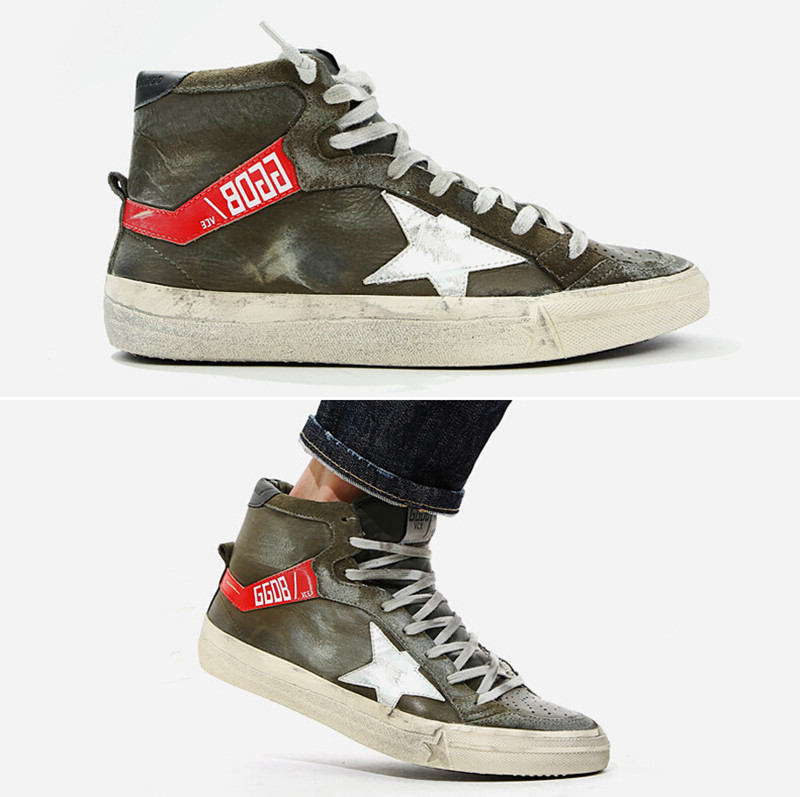 Original Italy Brand Golden Goose GGDB Superstar Men Women Green Casual Shoes Genuine Leather Lace-Up Shoes Scarpe GGDB Uomini