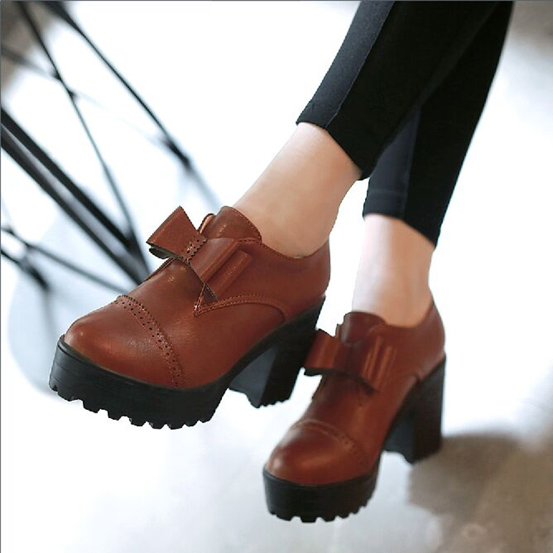 Vintage leisure shoes with thick sweet Korean bow thick bottom waterproof Taiwan Japanese women shoe heels<br><br>Aliexpress