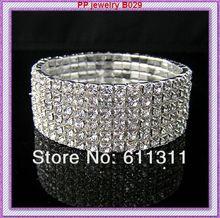 Big Discount!!Silver Plated High Quality Rhinestone Crystal Stretchy Alloy Bracelet/Wedding Dress Bangle(China (Mainland))