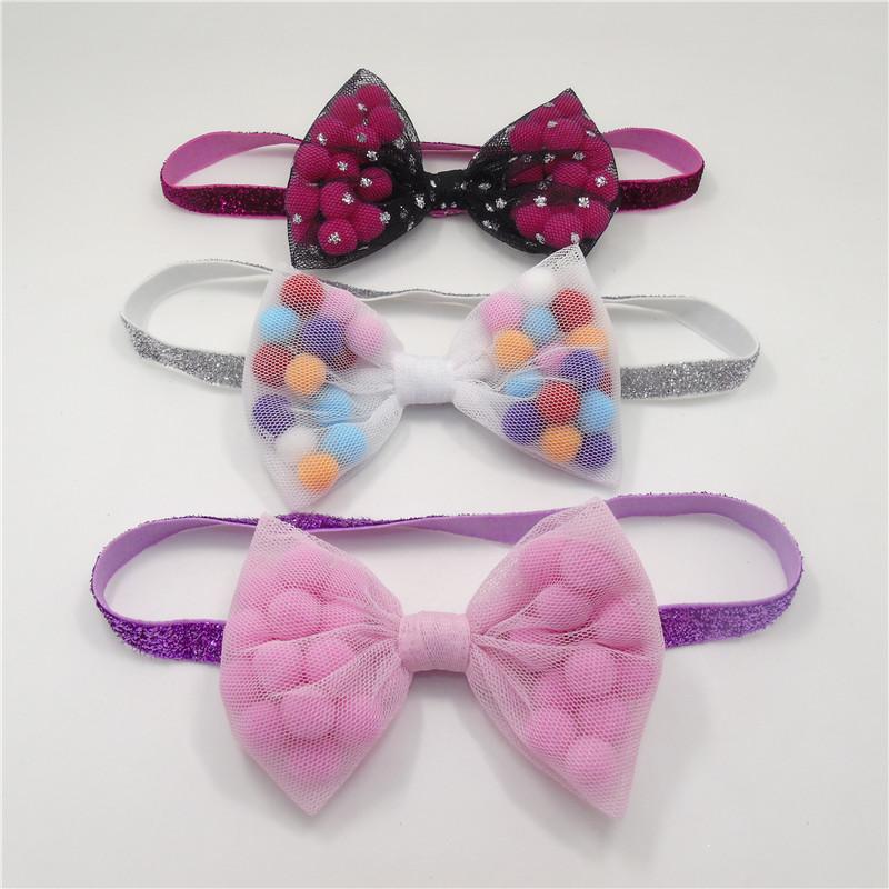 10pcs/lot Large Bow Pom Pom Headband Puffed Pink Ball Gauze Mesh Bow Hairband Newborn Festive Infant White Baby Shower Head Band(China (Mainland))