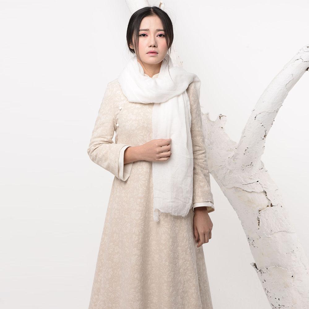Linen one-piece dress long design thick winter female gown plus velvet jacquard vintage loose plus size y102Одежда и ак�е��уары<br><br><br>Aliexpress