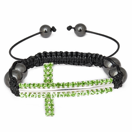 1 pc Green CZ Disco/Rhinestone Silver Plated Cross Friendship/Shamballa With Magnetit Beads Bracelet Free Shipping! s1327(China (Mainland))