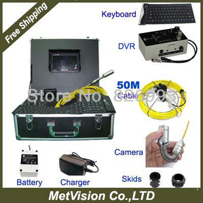 """Tube video camera pipe inspection DVR+keyboard+monitor+video and audio recording, """"LCD monitor 50M fiberglass cable(China (Mainland))"""
