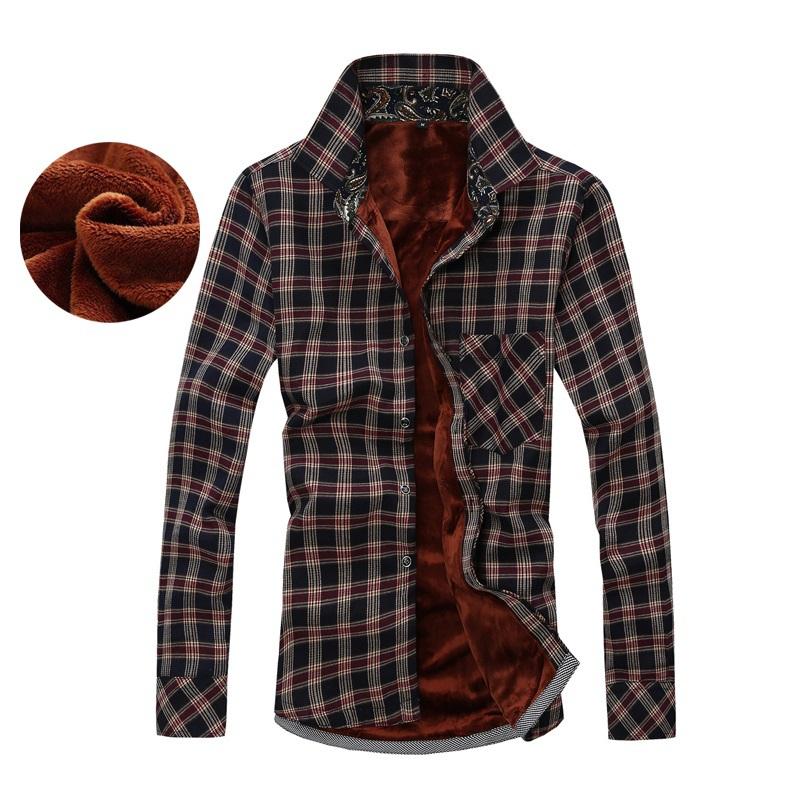 2015 плед мужчины зимние рубашки мода качество британский стиль теплый хлопок флис подкладке толщиной с длинным рукавом свободного покроя бизнеса