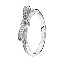 2015 Rings Compatible with Pandora Jewelry Sparkling bow, clear cz Size #6-10 New 100% 925 Sterling Silver European Women YG200