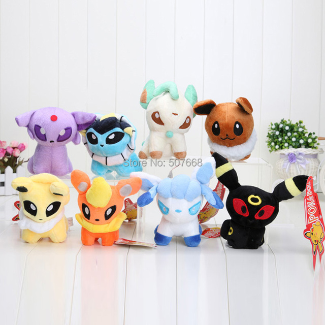 "8pcs/lot Pokemon Plush Toys Umbreon 5"" Eevee Espeon Jolteon Vaporeon Flareon Glaceon Leafeon Plush Toy Soft Stuffed Animals Doll"