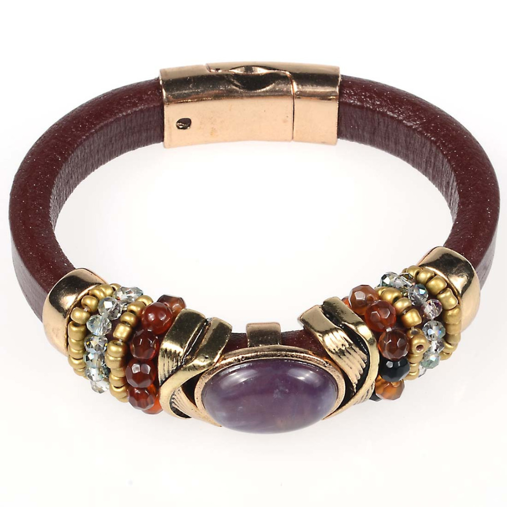 buy magnetic bracelet with geniune leather and amethyst charms leather bracelet. Black Bedroom Furniture Sets. Home Design Ideas