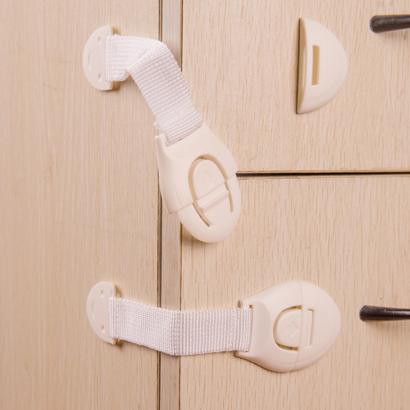 Baby Care Safety Security Plastic Cabinet Straps Products For Cabinet Drawer Wardrobe DoorsKid Safety Products Door Locks 1 Pcs(China (Mainland))