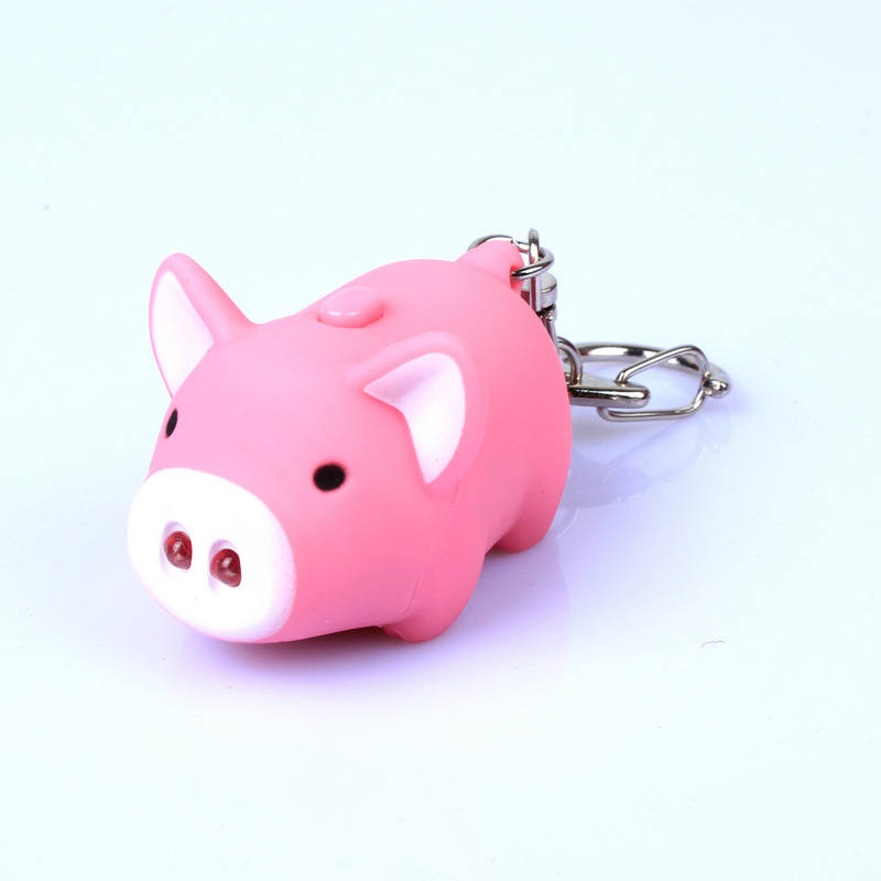 cute pig led keychains flashlight sound rings Creative kids toys pig cartoon sound light keychains child gift(China (Mainland))