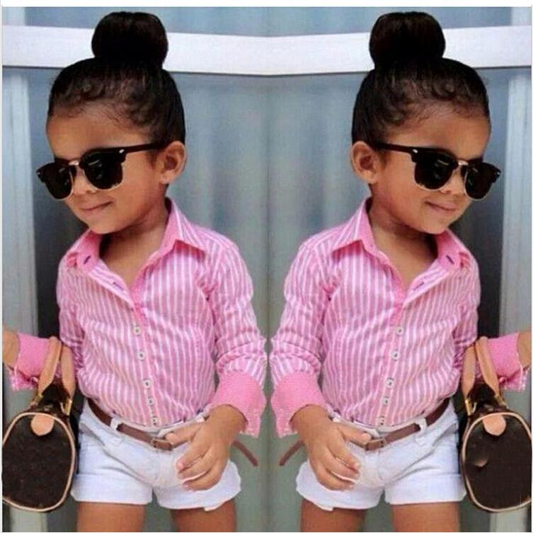 British Style Girls Clothing Sets:2015New Fashion Striped Long Sleeve Shirt with White Shorts Femininos Suit Belt Kids Clothes<br><br>Aliexpress