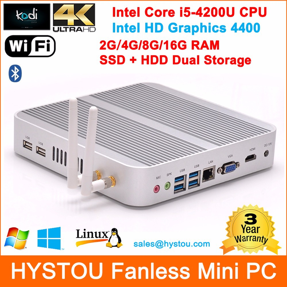 Fanless Mini PC i5 4200U Small Computers 2G/4G/8G/16G RAM SSD+HDD Dual Storage Low Power PC Win 7/8 USB3.0 HDMI Blutooth Wifi 4K(China (Mainland))