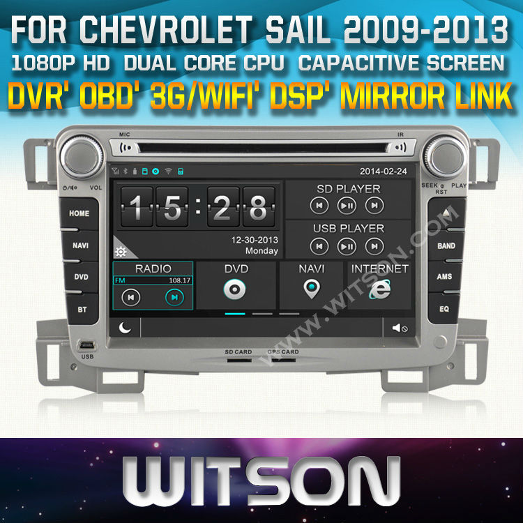 WITSON CAR DVD GPS for CHEVROLET SAIL with New Technology Capctive Screen+1080P+DSP+WiFi+3G+OBD+DVR+Good Price+Free shipping(China (Mainland))