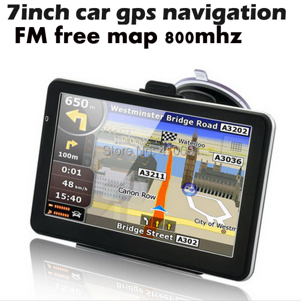 7 inch HD car gps navigator navigation system 800MHZ touch screen suport fm,mp3,video player,.wince6.0 without bluetooth av in(China (Mainland))