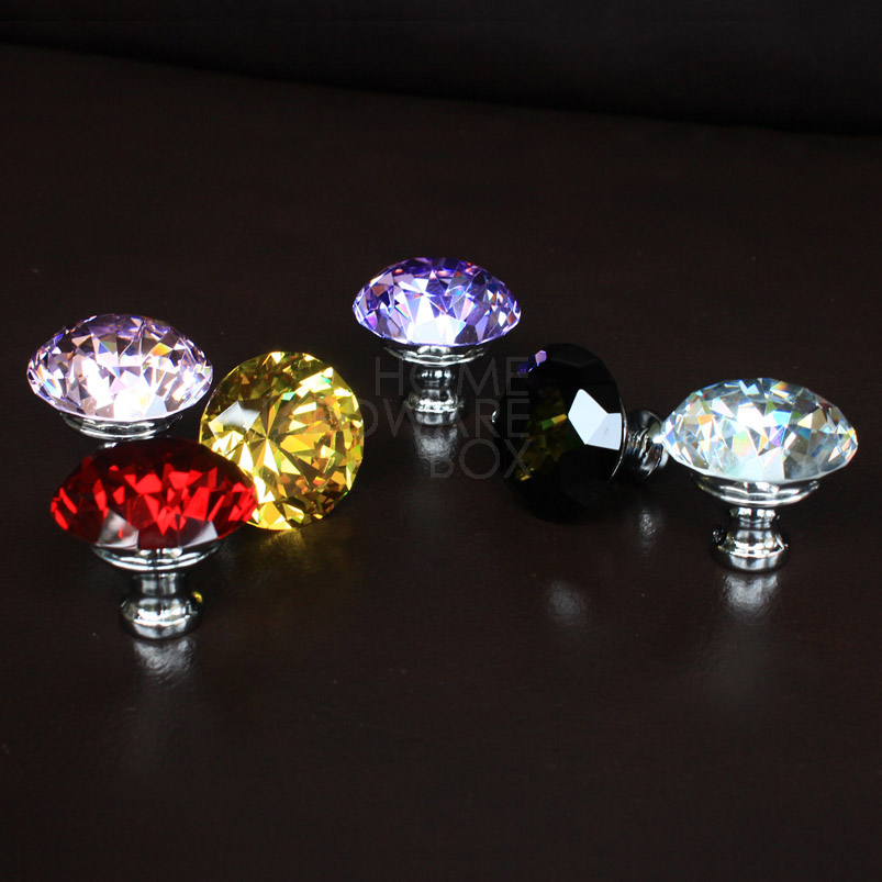 2 pcs crystal glass drawer knobs cabinet handle pulls yellow blue pink black clear red 40mm(China (Mainland))