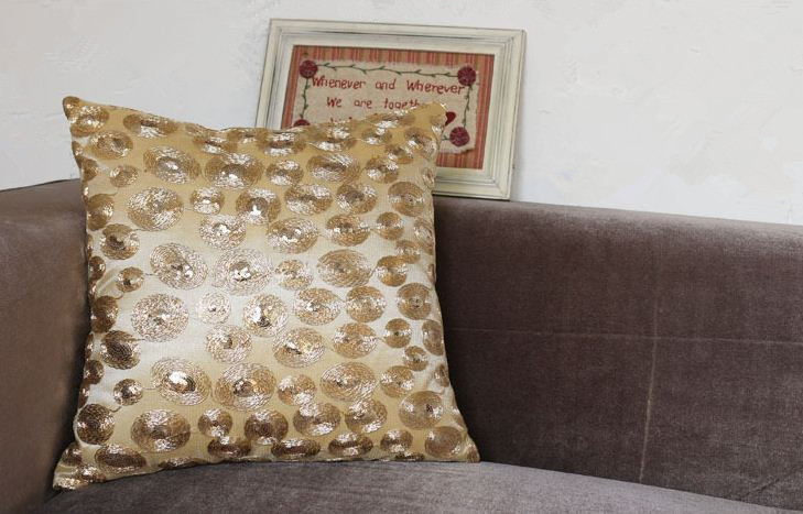 Gold sequin pillow home sofa throw pillows decorative cushion covers decoration handmade modern ...