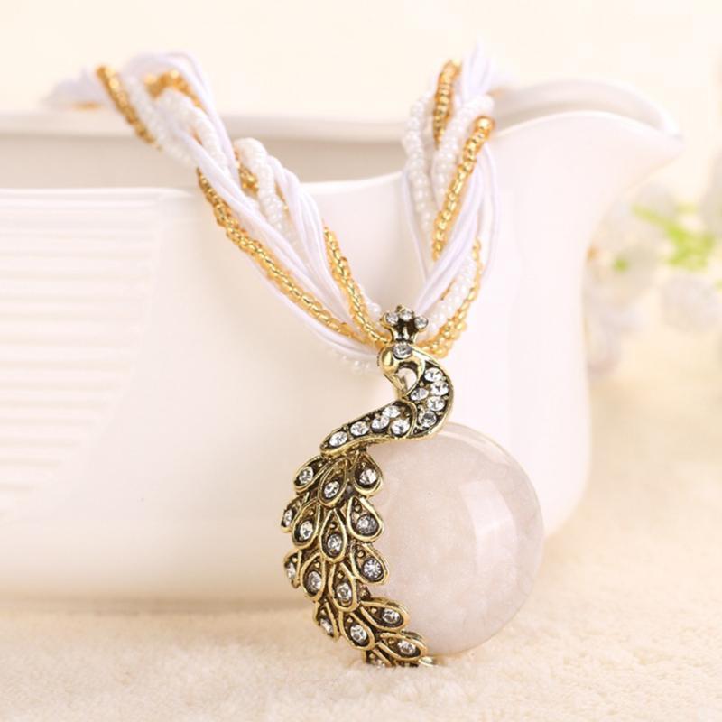 New Ethnic Jewelry Bohemian Style Maxi Necklaces Colorful Created Bead Gemstone Pendant Statement Necklace(China (Mainland))