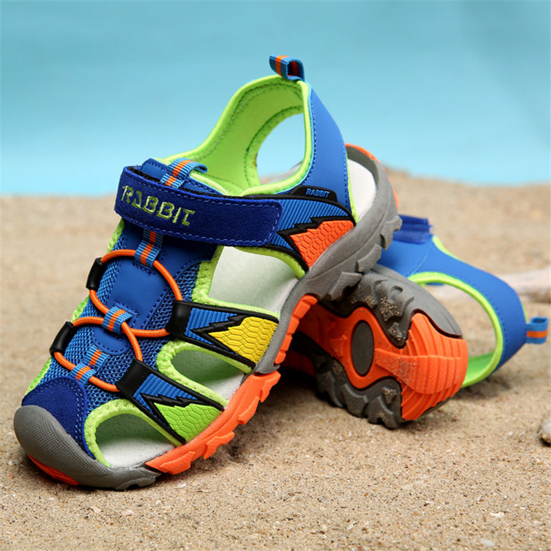 Summer Children Beach Sandals 2016 Kids Boys Rubber Sole Slip-resistant Fashion Sandals Children breathable sandal Size 26-37(China (Mainland))