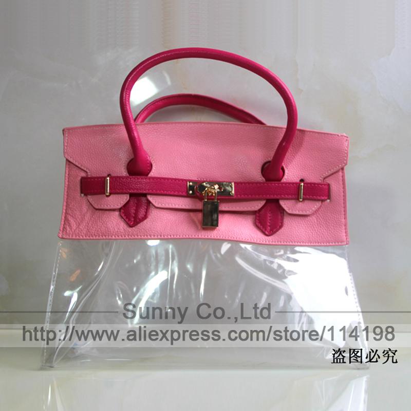 Clearance High quality 100% genuine leather bag 35cm cute plastic bags summer transparent beach bag women large handbag(China (Mainland))