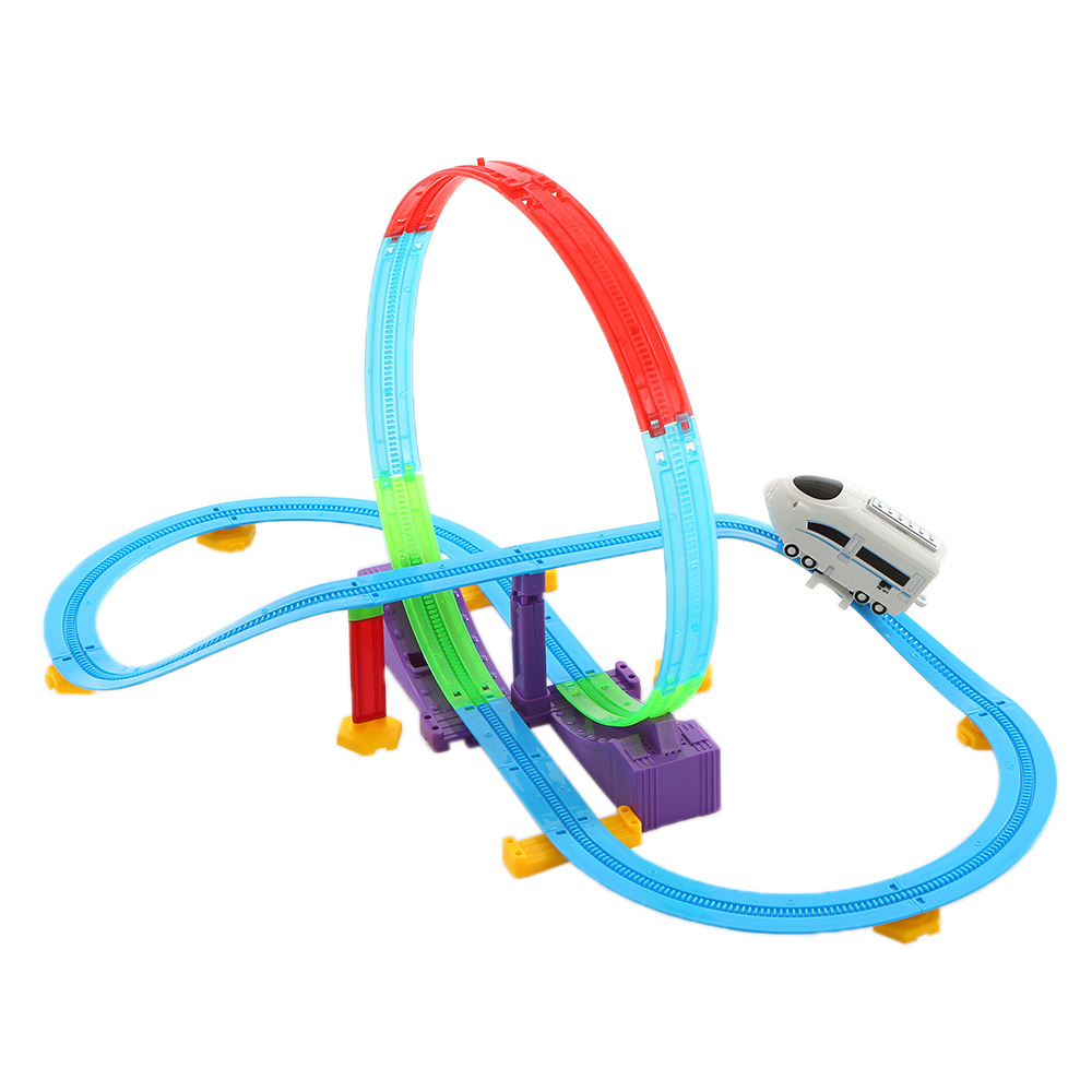 Toy Vehicles Electric Track Rail Car Kids Toys Track Racer Racing Car Rail Car Battery Powered DIY Toys Set for Children Gift(China (Mainland))