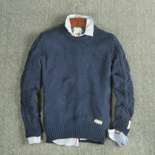 Тканые мужчины о-образным вырезом свитер три цвета тянуть homme мульти-марка