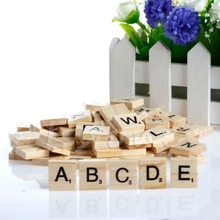 Hot 100 Wooden Alphabet Scrabble Tiles Black Letters & Numbers For Crafts Wood(China (Mainland))