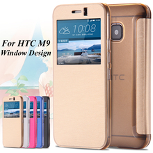 M9 Window View Case for HTC One M9 PU Leather Full Case Flip Soft Light Bag Fashion Cloth Pattern M 9(China (Mainland))