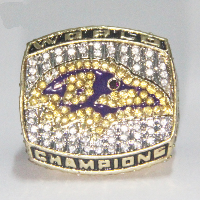 Drop Shipping 2000 Super Bowl Baltimore Ravens Championship Cincin Kustom Big Size 11,18k gold men replica ring Sport Jewelry(China (Mainland))