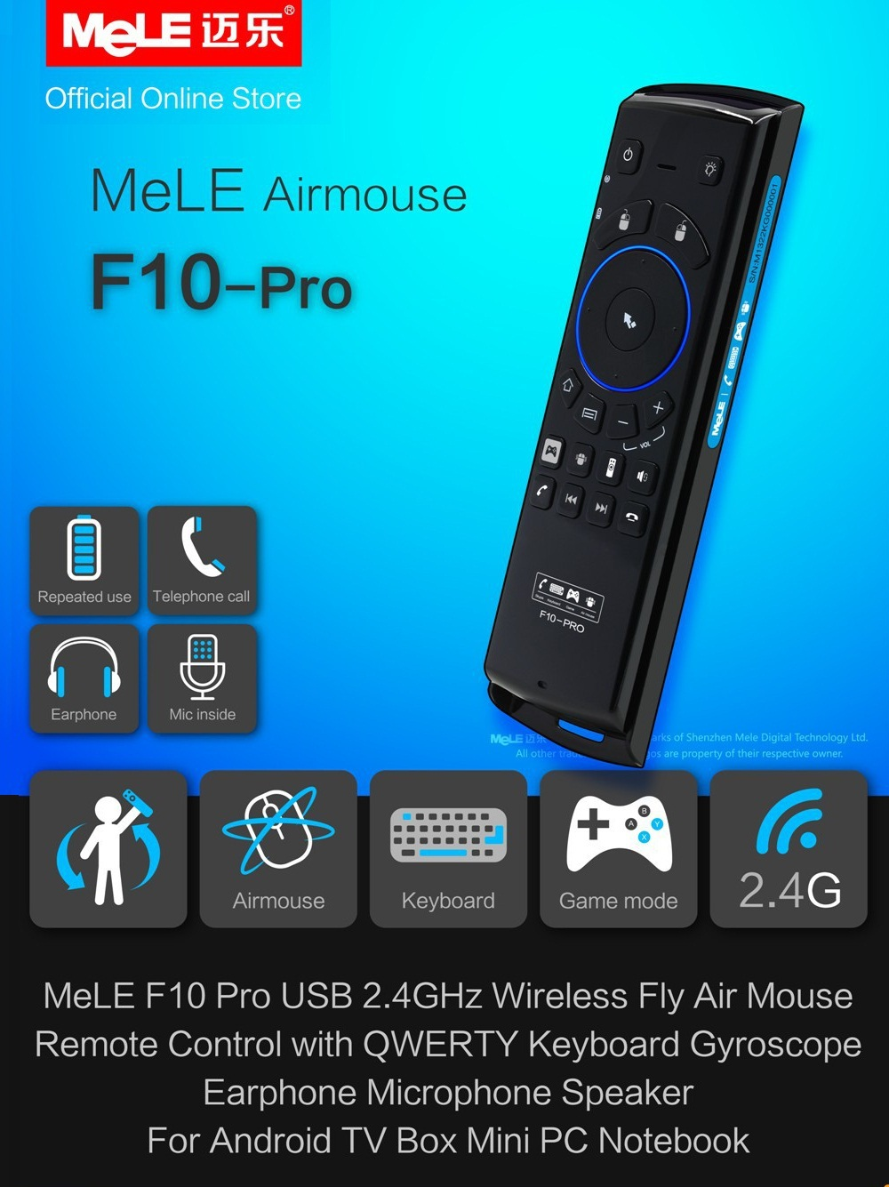 Гаджет  QWERTY Keyboard Fly Air Mouse Wireless Remote Control MeLE F10 Pro Deluxe 2.4GHz  with Earphone Microphone Speaker for gaming None Компьютер & сеть