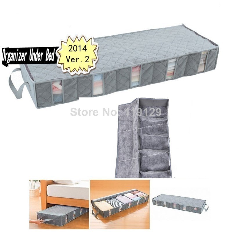 Home Save space organizer Underbed Closet Storage Bag box For Quilt Bedding Clothes Divider Organiser Organizer Under Bed(China (Mainland))