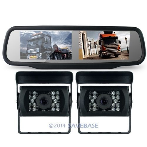 "HOMSECUR Motorhome Lorry Car Dual 4.3"" Lcd Rearview Mirror Monitor+ 2 Reversing Ir Camera(China (Mainland))"
