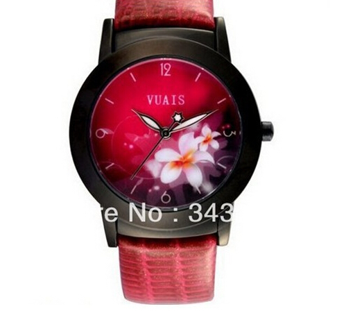 Promotion Coupon2014 Super Quality Unique Classic Style Leather Wristband Fashion Quarts Analog Hour Clocks Dress Flower Watches - 2014 New Fortune Store store