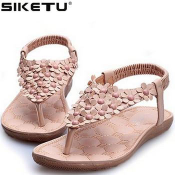 2016 Plus Size Sandalias Soft Leather Sloe Flat Women's Sandals Flower Decoration Flip Flop Beach Sandal Lady Summer Shoes F128