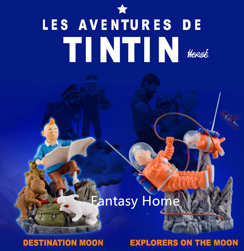 Tintin Figure 2pcs/lot Map& Milou/Snowy Figure Toys In Herge Anime/Comic The Adventures Of Tintin Destination Moon/Objectif Lune(China (Mainland))