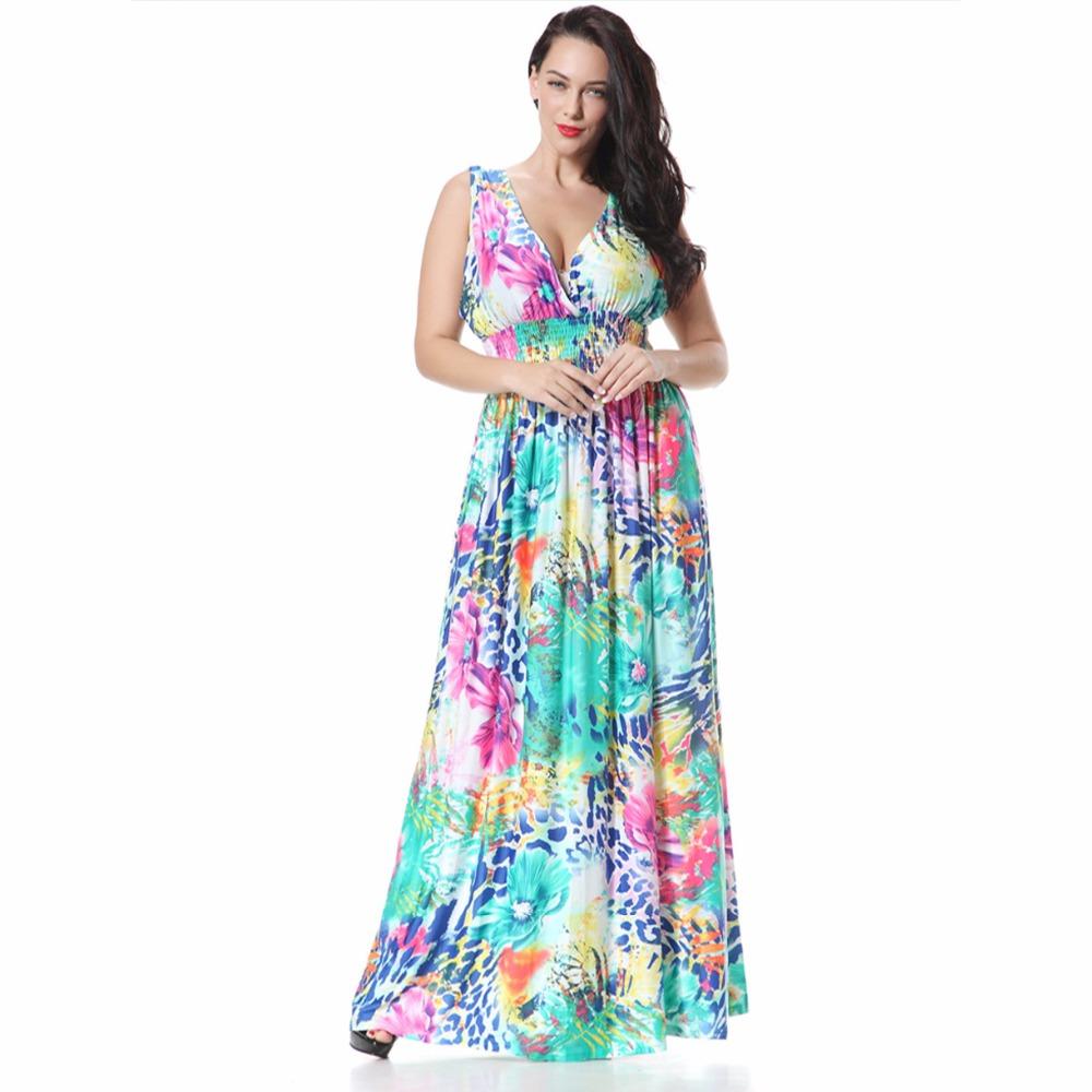 2016 new summer bohemian dress sexy v neck backless big size symphony flower long floor length. Black Bedroom Furniture Sets. Home Design Ideas