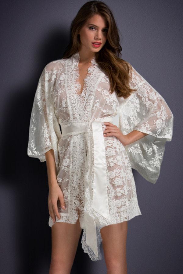 Women White Sexy Sleepwear US Domestic Delivery Free Size Elegant Night Dresses Belted Lace Pajamas for Ladies Kimono Nightwear(China (Mainland))