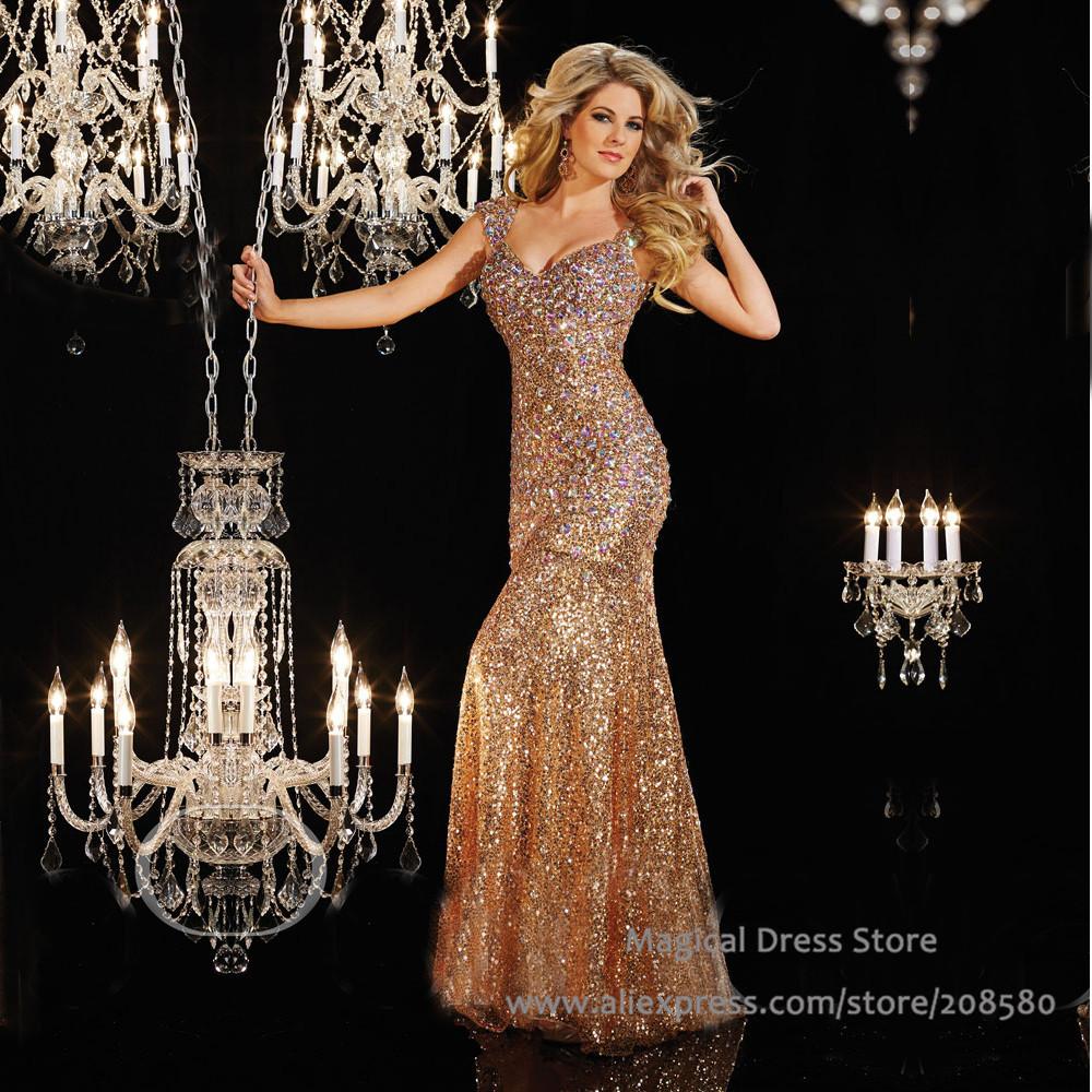 buy women long red gold mermaid sequin evening dress abendkleider crystal 2016. Black Bedroom Furniture Sets. Home Design Ideas
