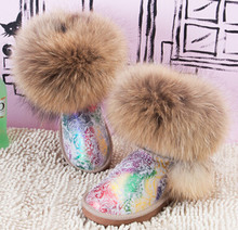 Muleshoe cattle fur one piece oversized fox fur snow boots knee high cow muscle boots outsole