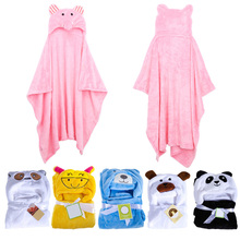 Hot Selling !!!! Cute Animal Flannel Cartoon Baby Kid's Hooded Bath Towel Toddler Blankets LD789