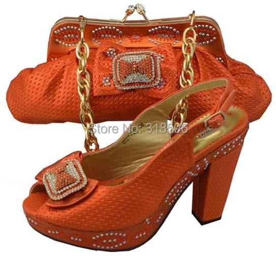 Free shipping! Upscale Shoes and Bags set, Fashion dress shoes and bags,Shoes and matching bags set orange(China (Mainland))